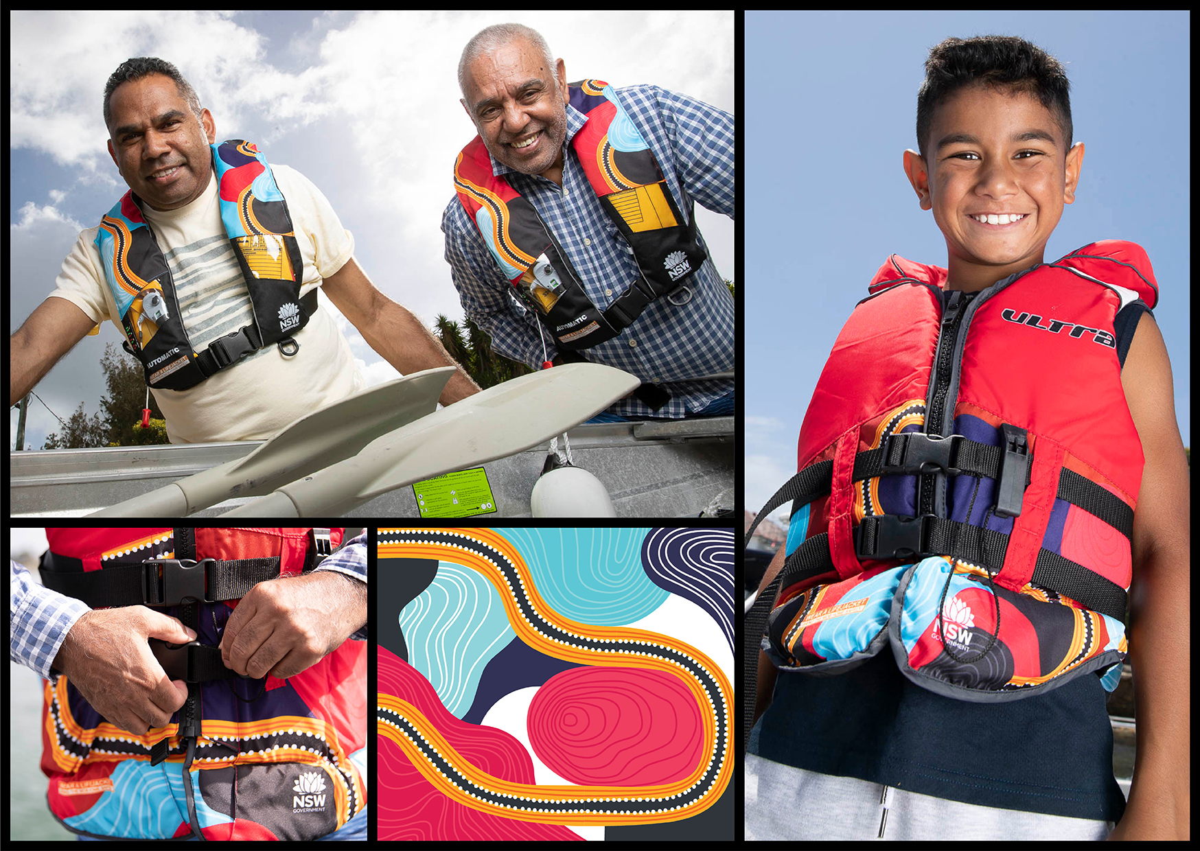 Gilimbaa Transport for NSW Maritime lifejacket graphic design